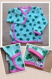 Omlottkofta i gröna klöver med rosa kantband stl 68